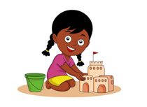 African American Girl Making Sand Castles On Beach Clipart